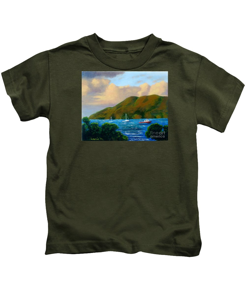 Sunset Kids T-Shirt featuring the painting Sunset On Cruz Bay by Laurie Morgan