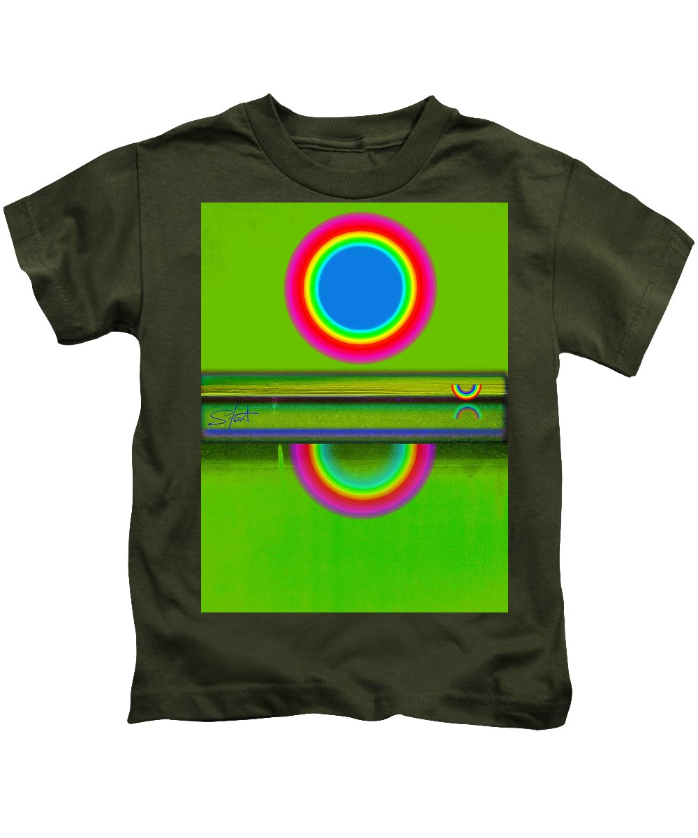 Reflections Kids T-Shirt featuring the painting Sunset On Green by Charles Stuart