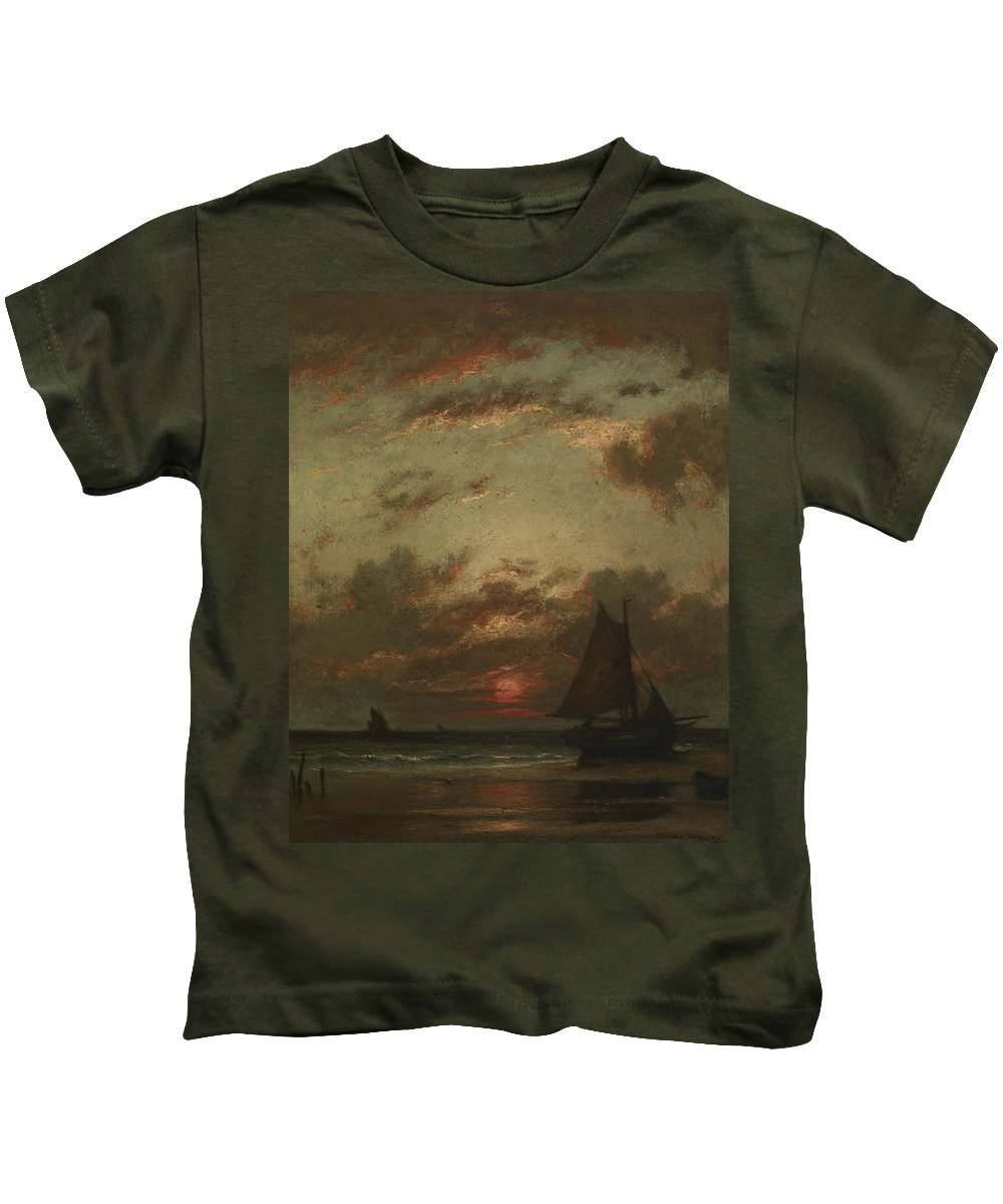 French Art Kids T-Shirt featuring the painting Sunset On The Coast by Jules Dupre