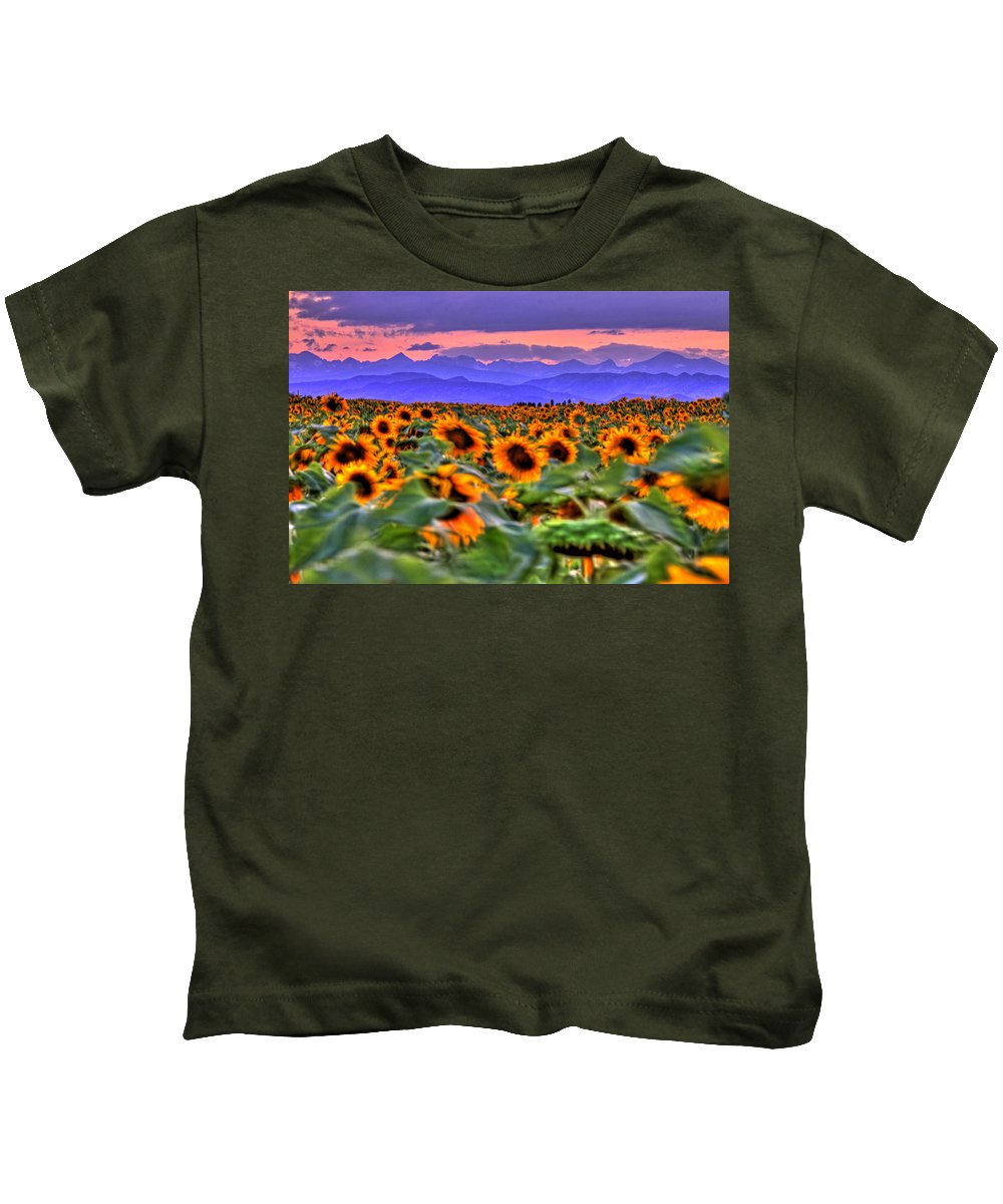 Sunsets Kids T-Shirt featuring the photograph Sunsets And Sunflowers by Scott Mahon