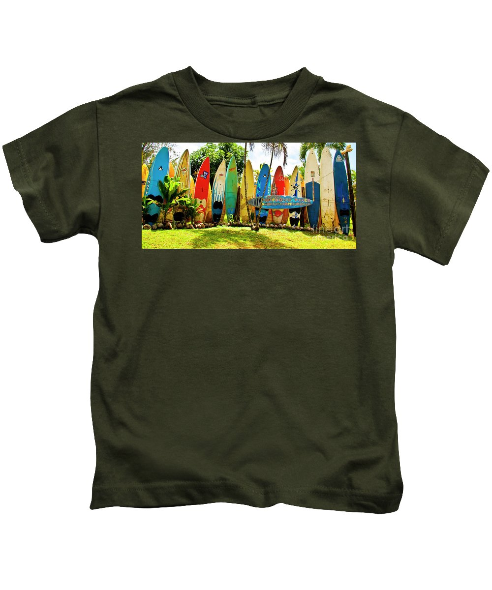 Surfboard Kids T-Shirt featuring the photograph Surfboard Fence II-the Amazing Race by Jim Cazel