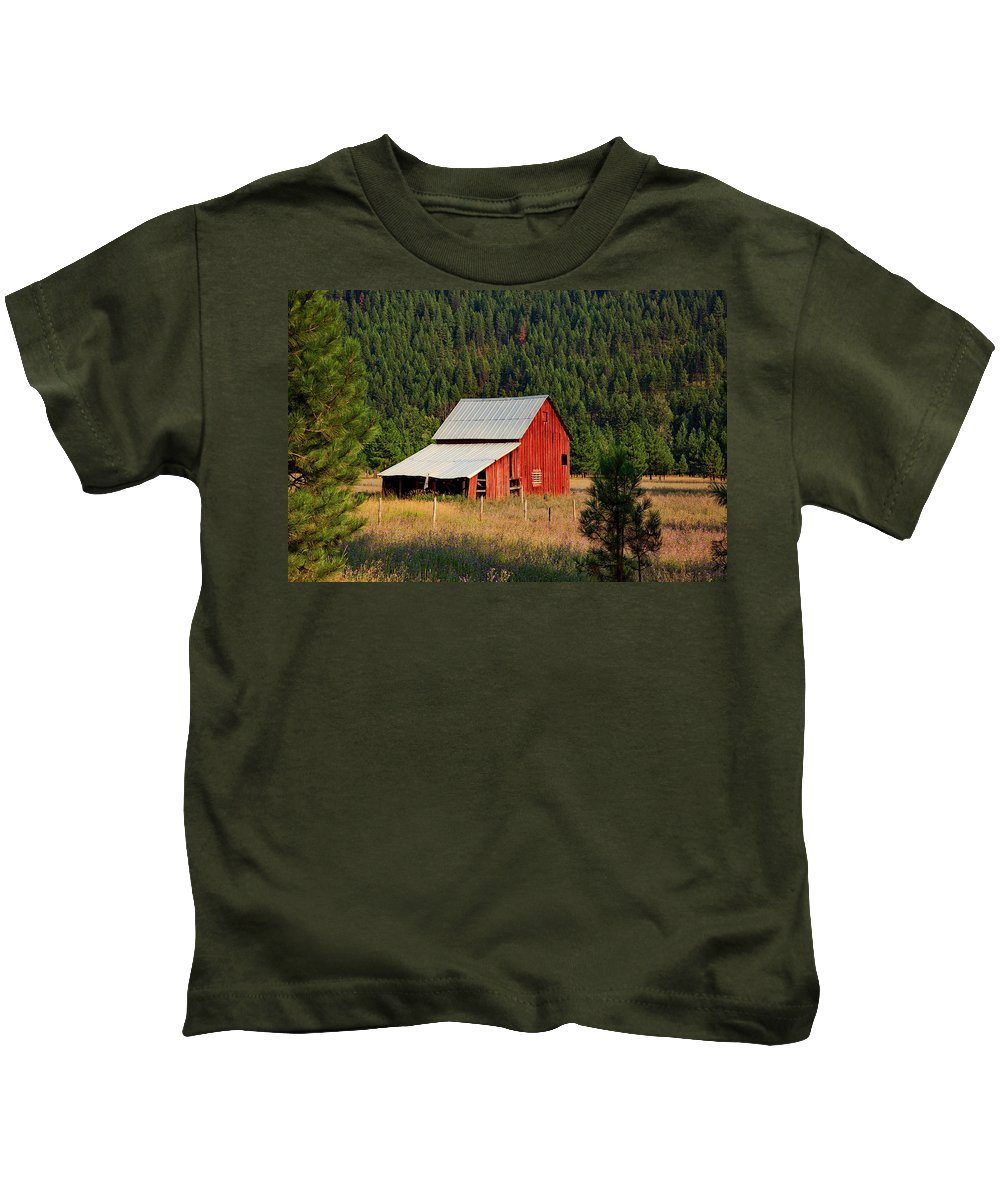 Barn Kids T-Shirt featuring the photograph Surrounded By Forest by Mountain Dreams