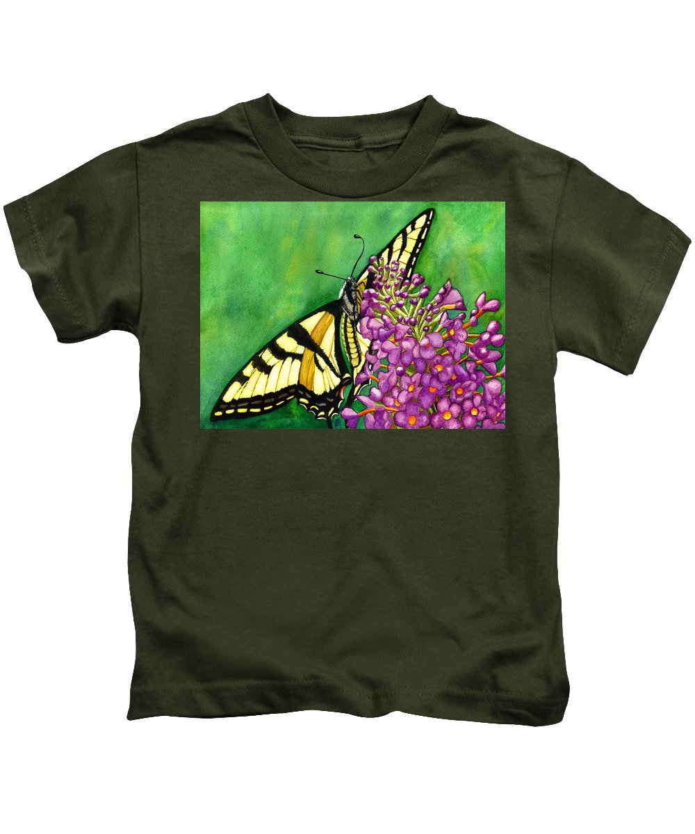 Butterfly Kids T-Shirt featuring the painting Swallowtail 1 by Catherine G McElroy