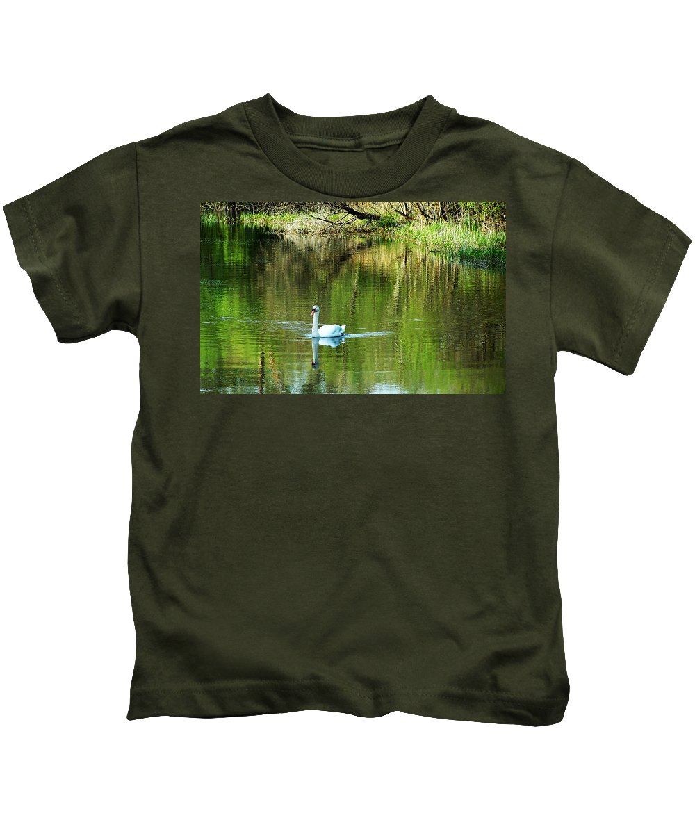 Irish Kids T-Shirt featuring the photograph Swan On The Cong River Cong Ireland by Teresa Mucha