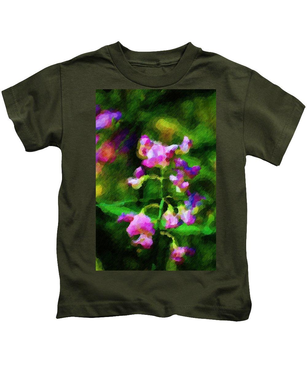 Flowers Kids T-Shirt featuring the digital art Sweet-pea Kinda Feeling by David Lane