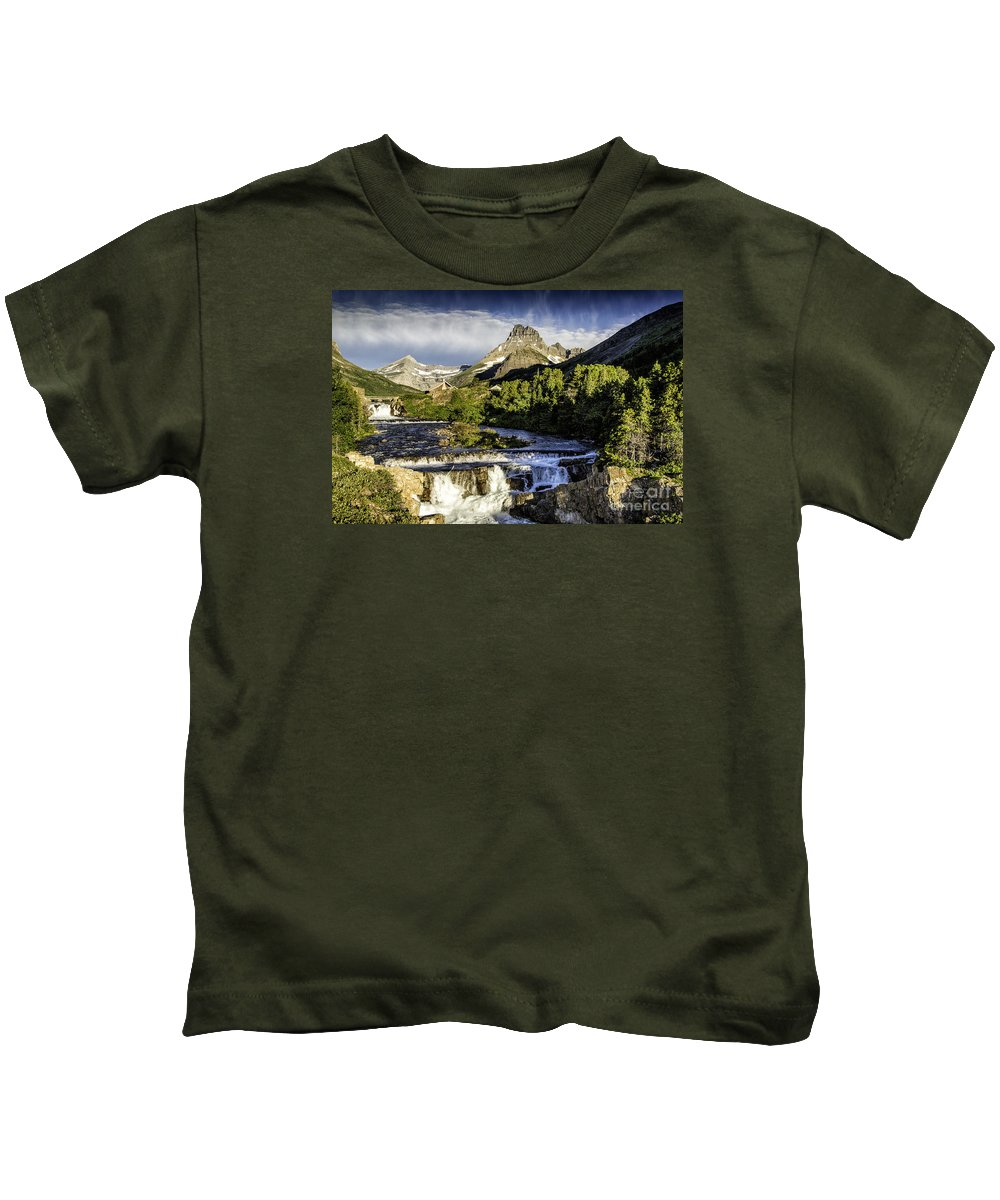 Glacier Kids T-Shirt featuring the photograph Swiftcurrent Falls Glacier Park 3 by Timothy Hacker