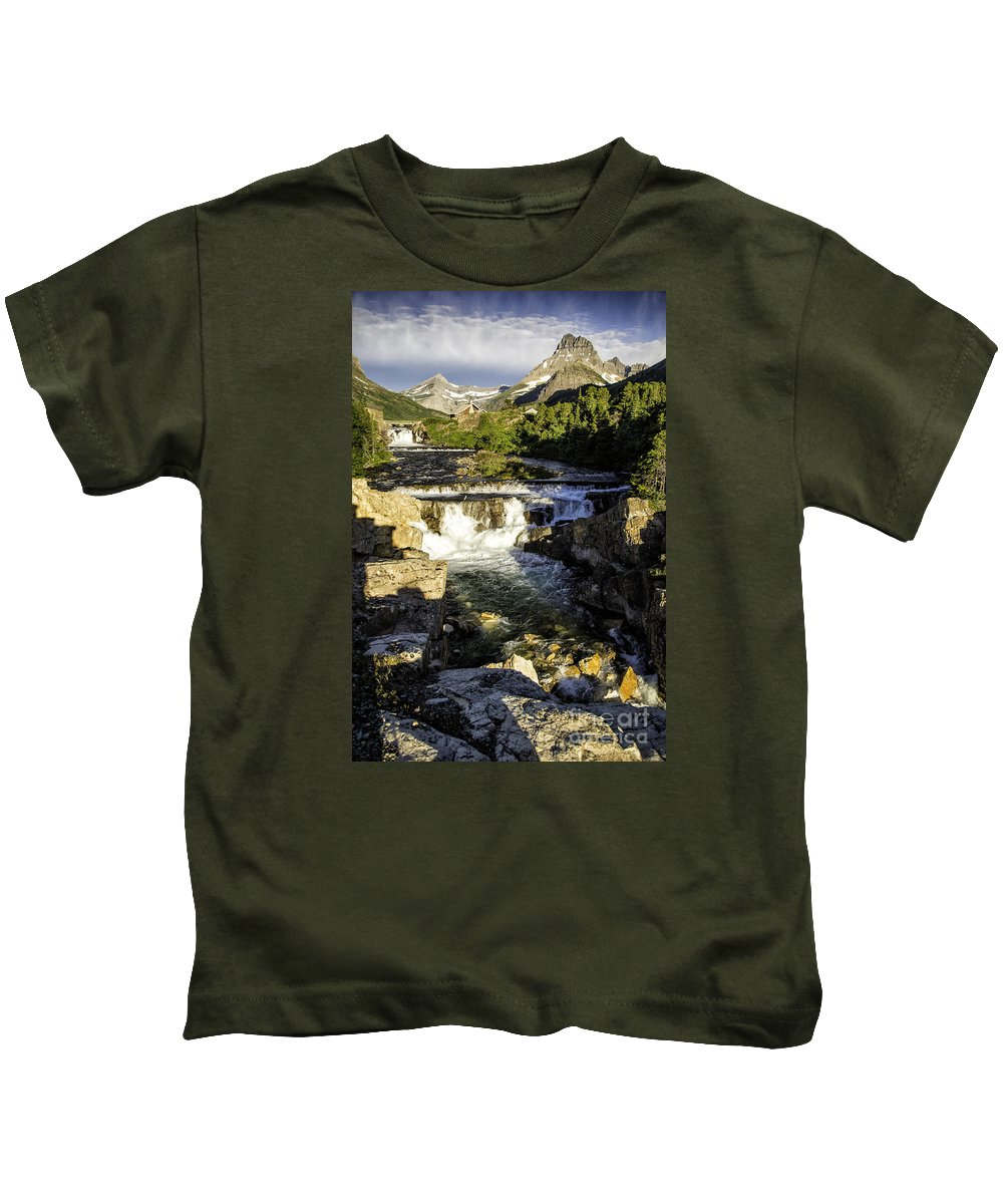Glacier Kids T-Shirt featuring the photograph Swiftcurrent Falls Glacier Park 4 by Timothy Hacker