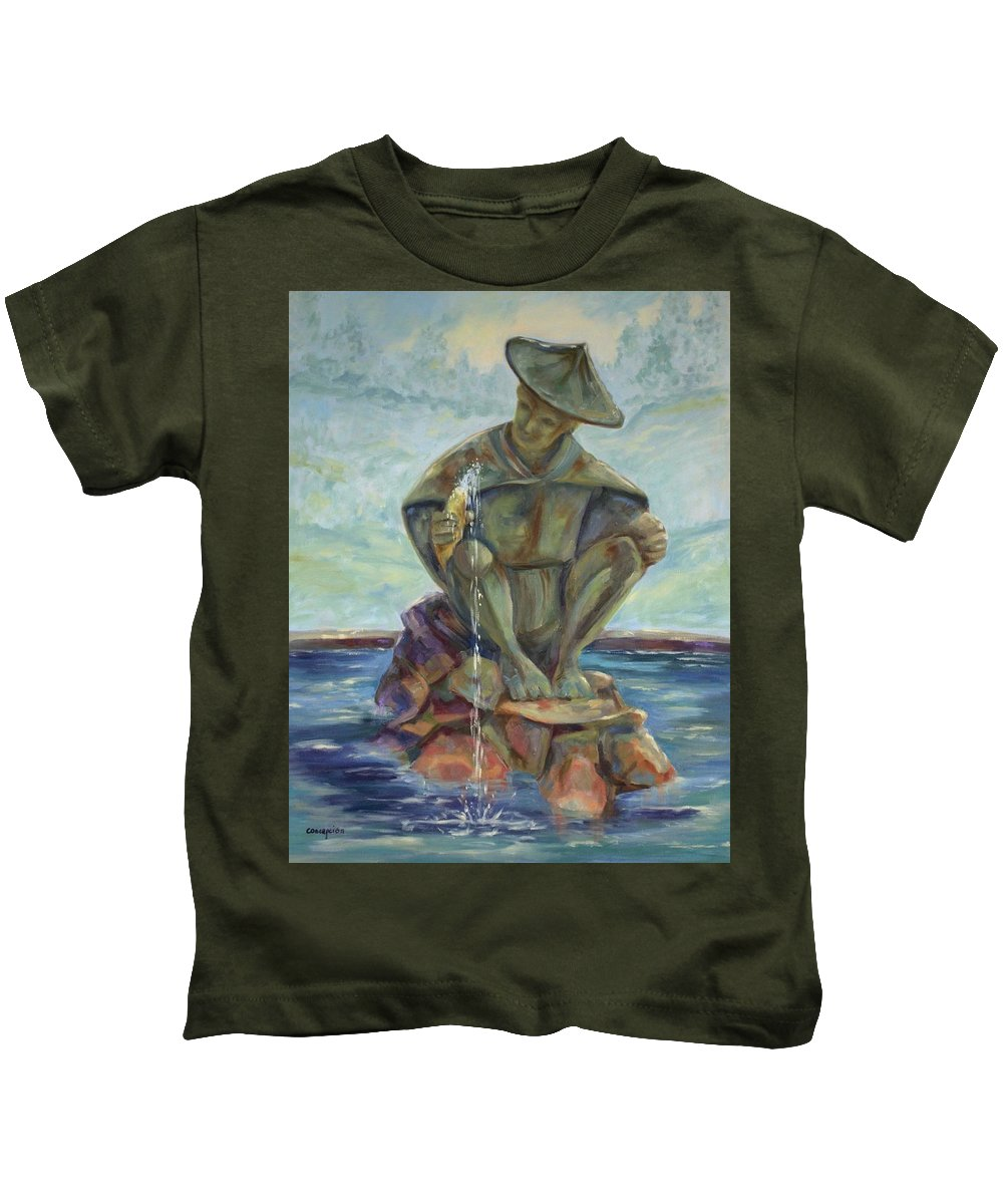 Landscape Kids T-Shirt featuring the painting Taipei Fountain by Ginger Concepcion