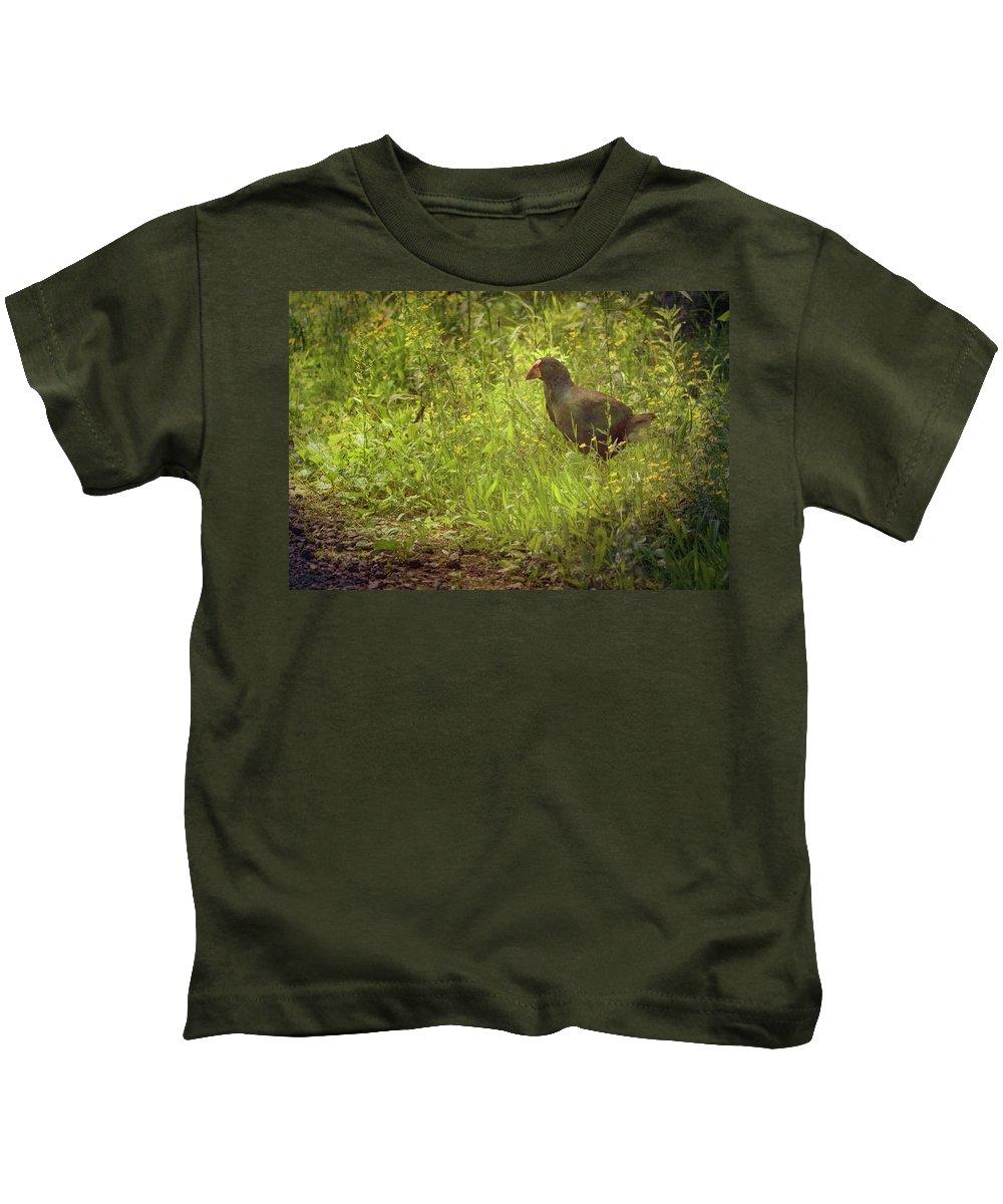 Joan Carroll Kids T-Shirt featuring the photograph Takahe On Tiritiri Matangi New Zealand by Joan Carroll