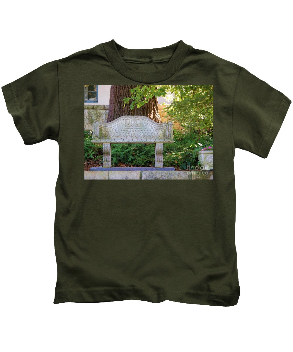 Bench Kids T-Shirt featuring the photograph Take A Break by Debbi Granruth