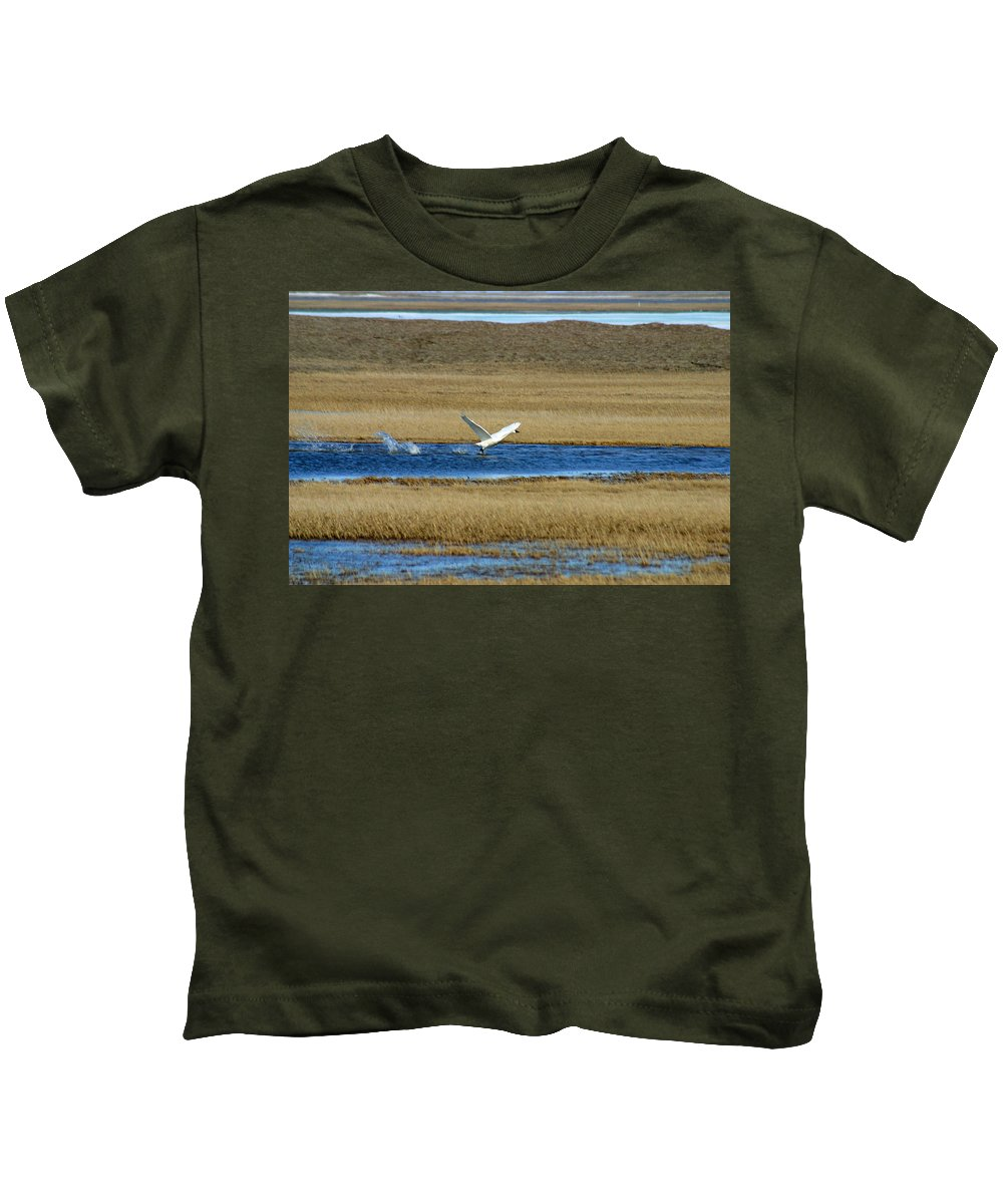 Swan Kids T-Shirt featuring the photograph Take Off by Anthony Jones