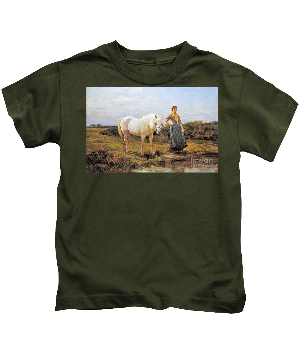 Heywood Hardy - Noonday Kids T-Shirt featuring the painting Taking A Horse To Water by MotionAge Designs