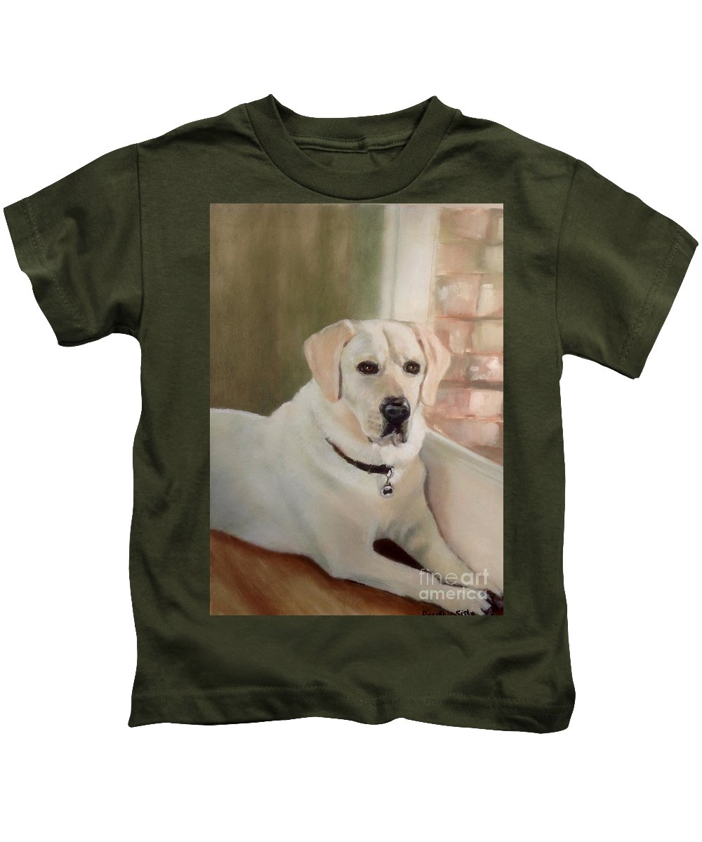 Labrador Dog Kids T-Shirt featuring the painting Tank by Dorothy Sitka