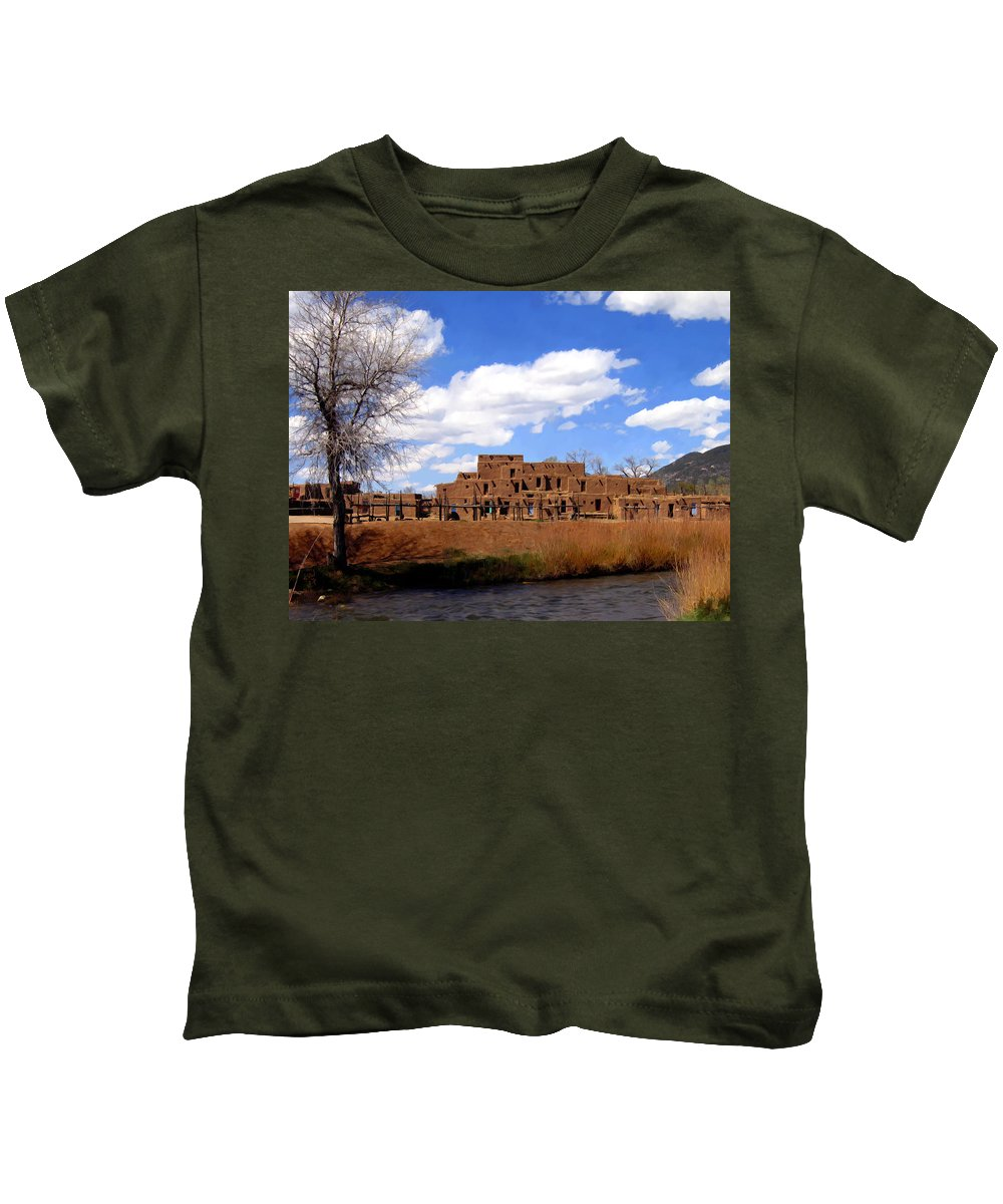 Taos Kids T-Shirt featuring the photograph Taos Pueblo Early Spring by Kurt Van Wagner