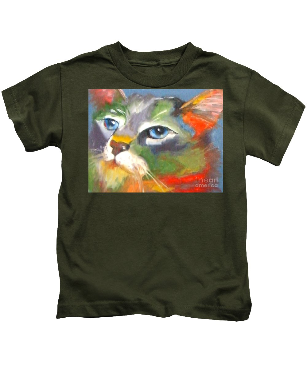 Cat Kids T-Shirt featuring the painting Technicolor Tabby by Susan A Becker