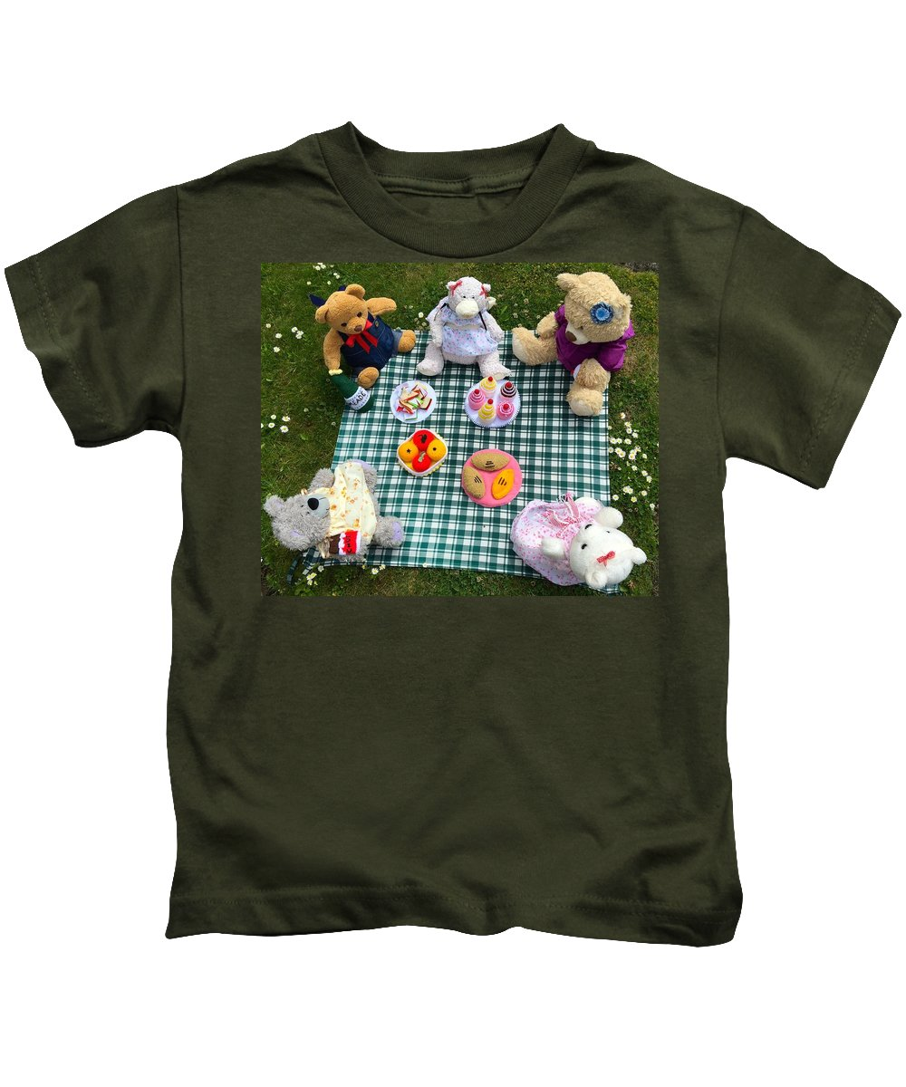Teddy Bear Picnic Kids T-Shirt featuring the photograph Teddy Bear Picnic by Caroline Reyes-Loughrey