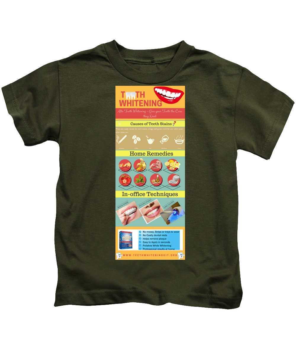 Teeth Whitening Kids T-Shirt featuring the digital art Teeth Whitening- Give Your Teeth The Care They Need by Lorein Watson