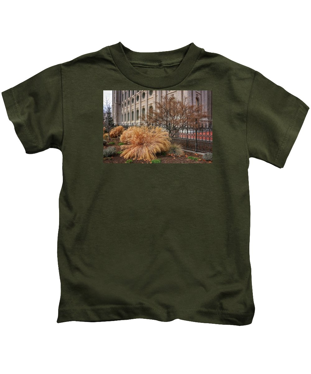 Mormon Kids T-Shirt featuring the photograph Temple Landscaping by Buck Buchanan