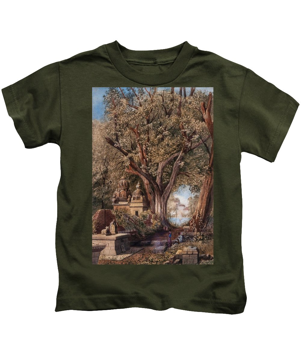 Julius Middleton Boyd () Temples And Burial Ground Near Poona Kids T-Shirt featuring the painting Temples And Burial Ground Near Poona by MotionAge Designs