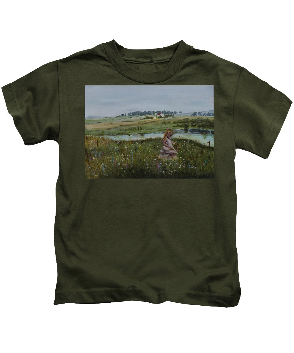 Impression Kids T-Shirt featuring the painting Tender Blossom - Lmj by Ruth Kamenev