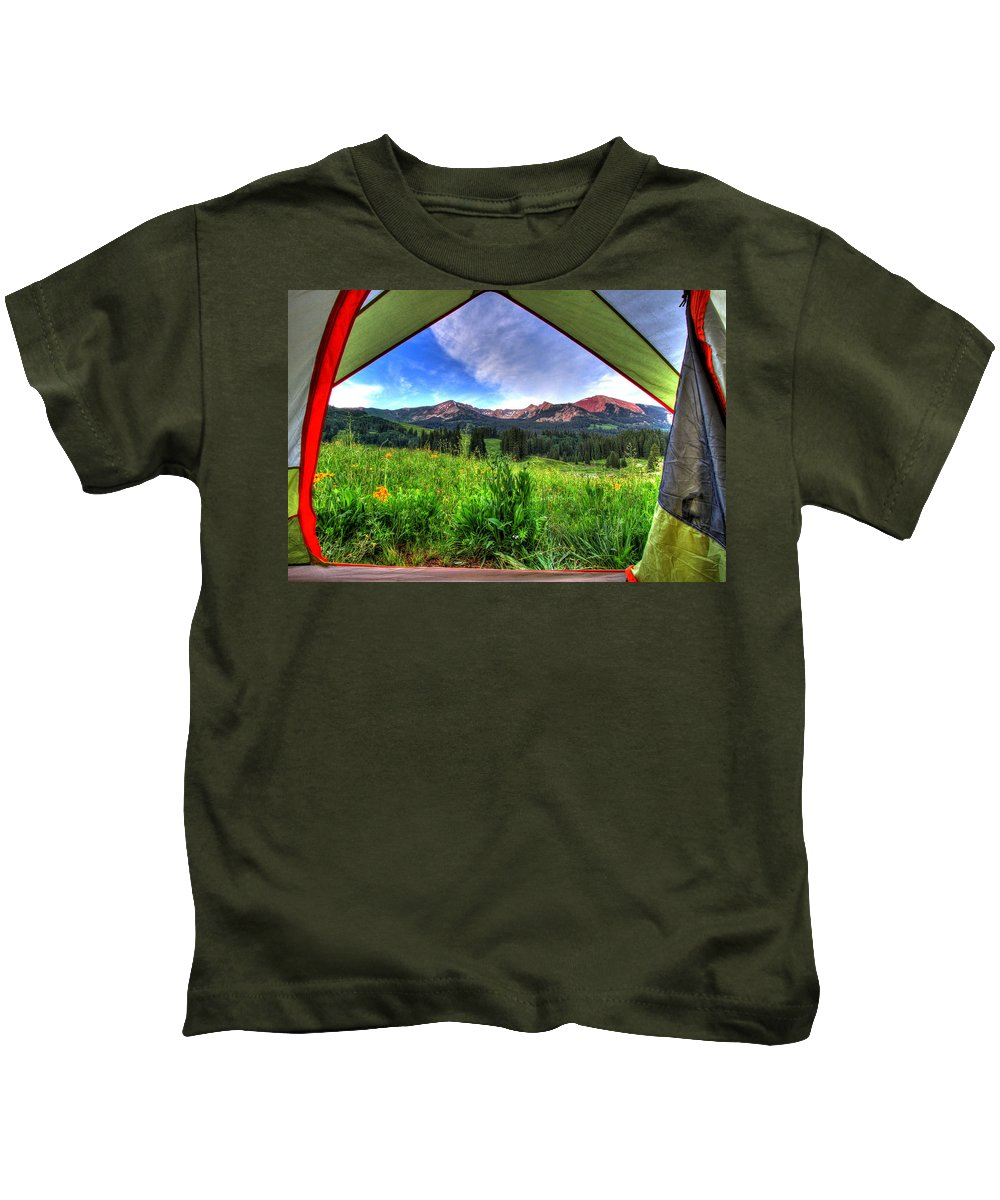Photo Kids T-Shirt featuring the photograph Tent View by Scott Mahon