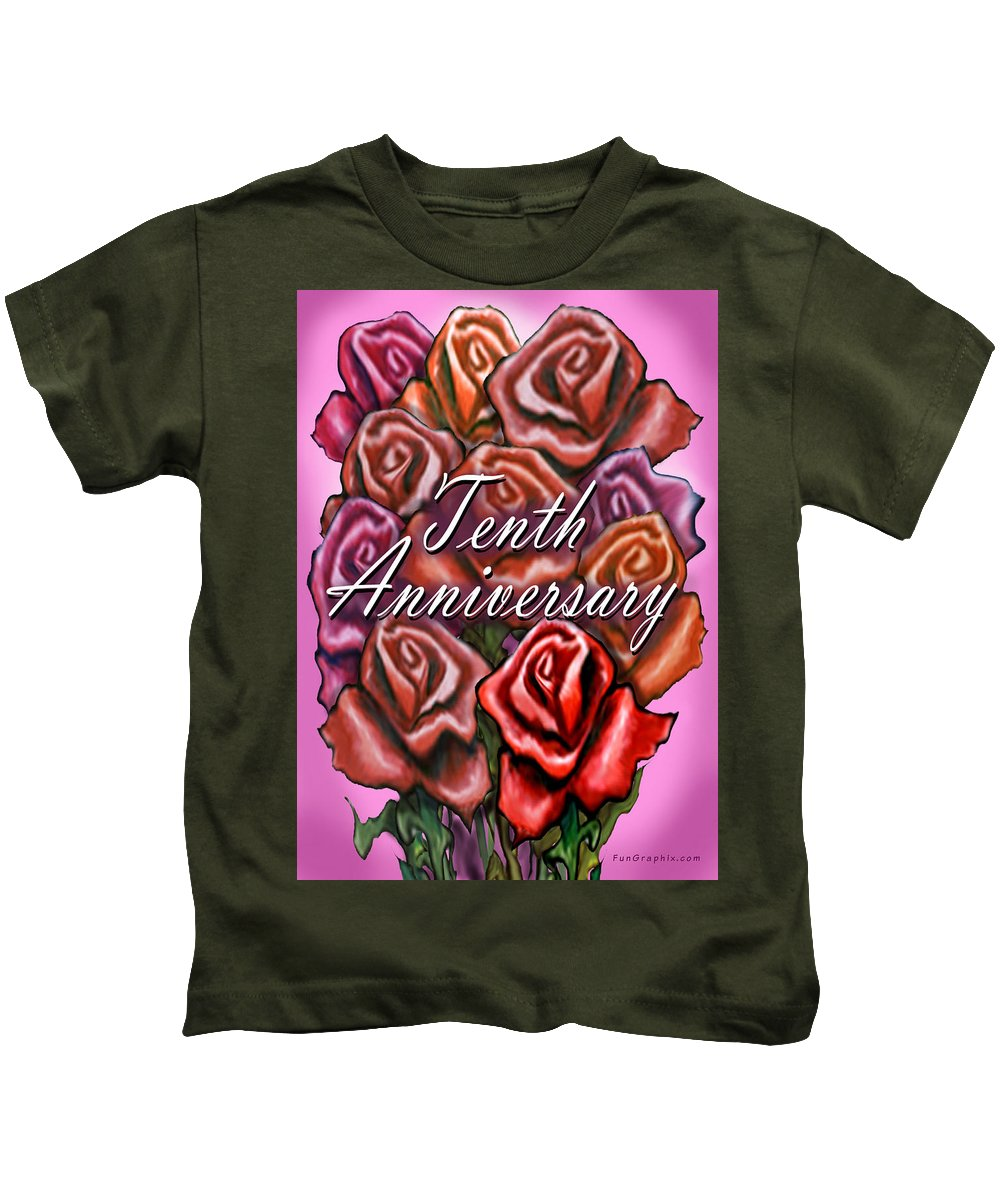 Tenth Kids T-Shirt featuring the greeting card Tenth Anniversary by Kevin Middleton