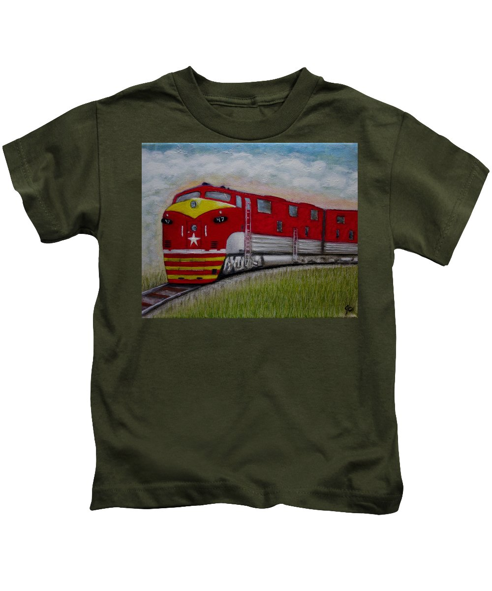 Texas Special Train Locomotive Rail Road Passenger Train Freight Train Landscape Kids T-Shirt featuring the painting Texas Special by Jimmy Carender