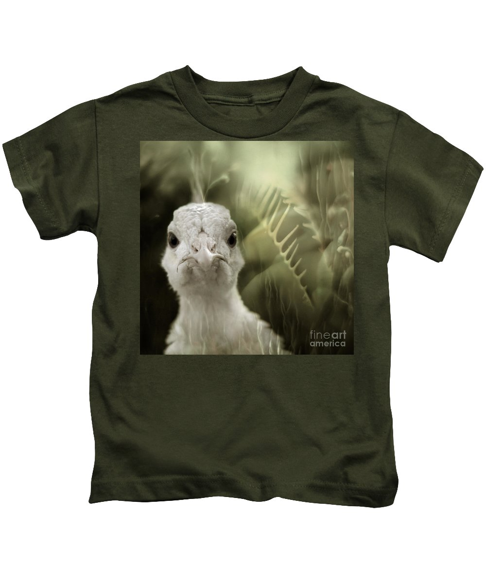 Peacock Kids T-Shirt featuring the photograph Th White Peacock by Angel Ciesniarska