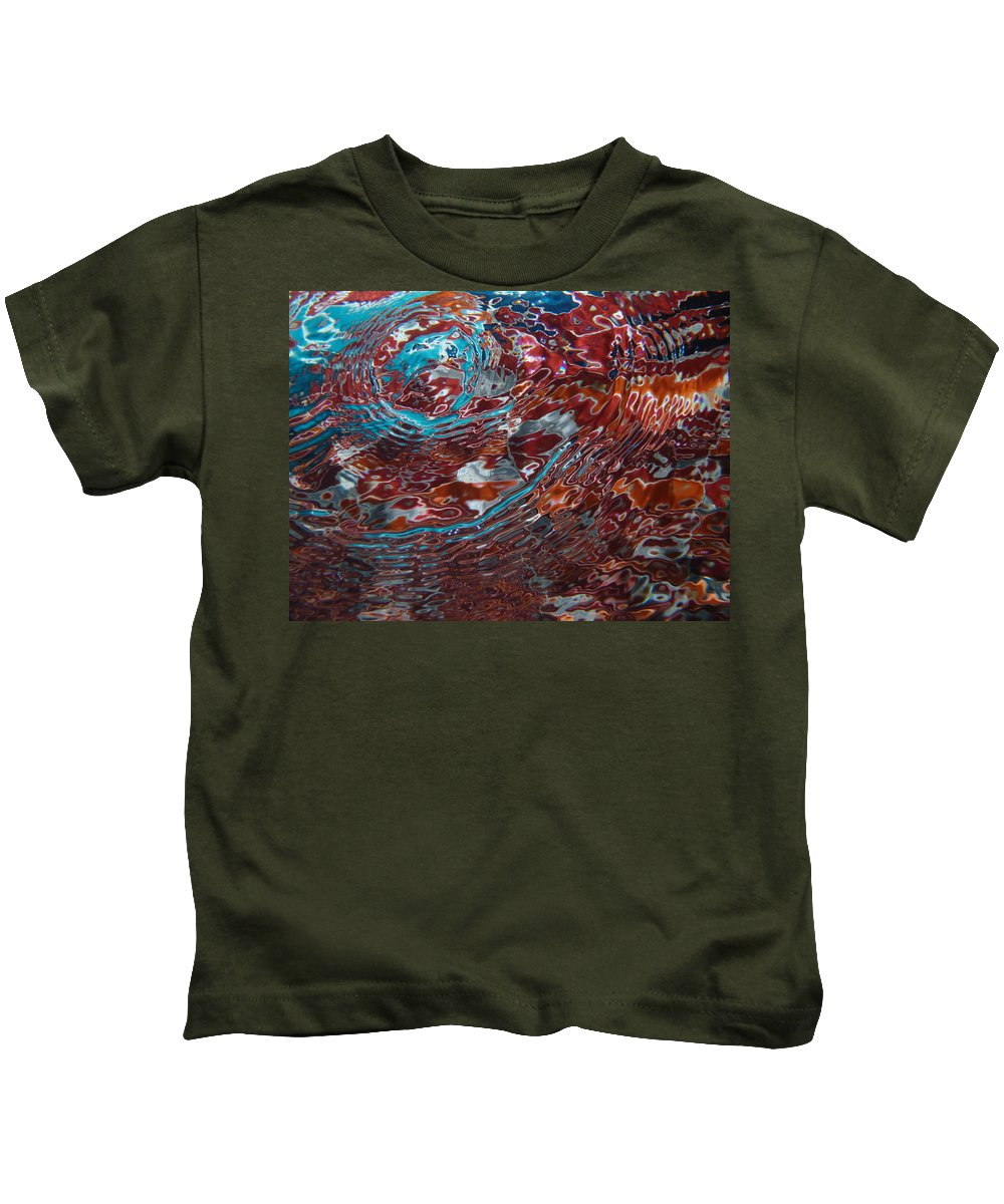 Pool Water Aqua Night Underwater Abstract Blue Salmon Movement Kids T-Shirt featuring the photograph Thai Pool by Original Digital