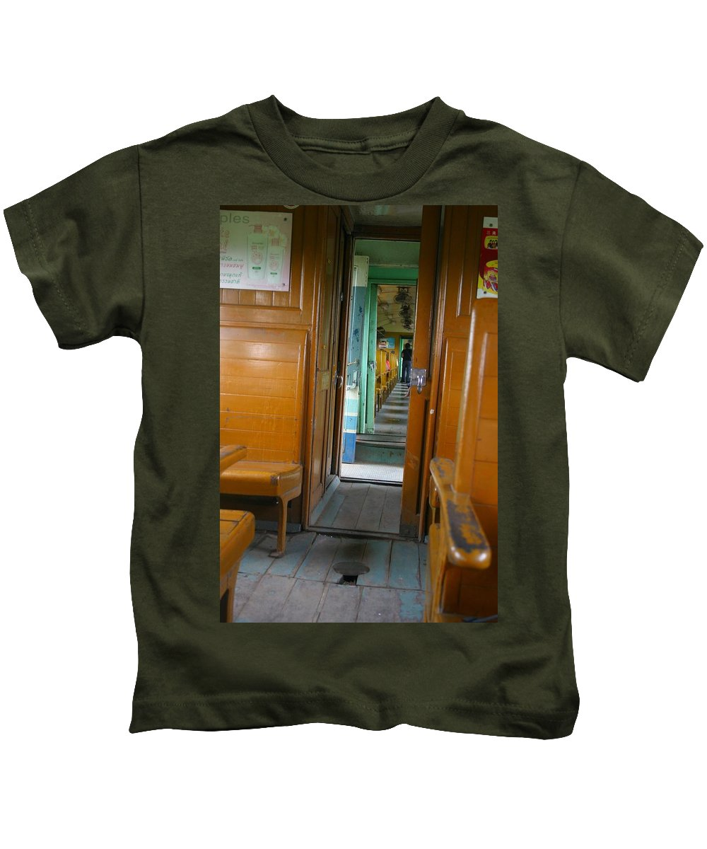 Train Kids T-Shirt featuring the photograph Thailand Train by Minaz Jantz