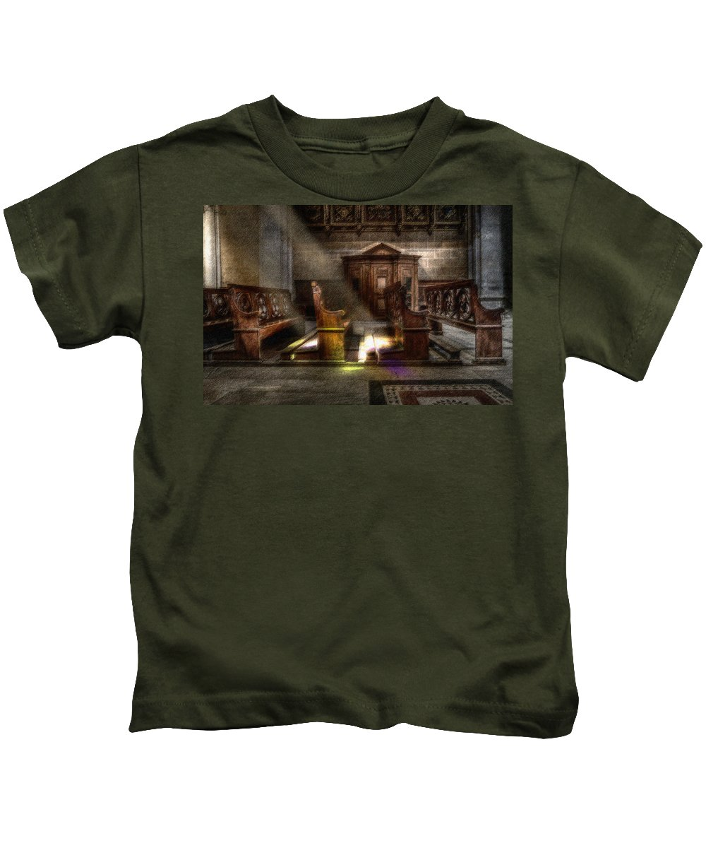 Abbey Kids T-Shirt featuring the digital art The Abbey by CR Beaumont