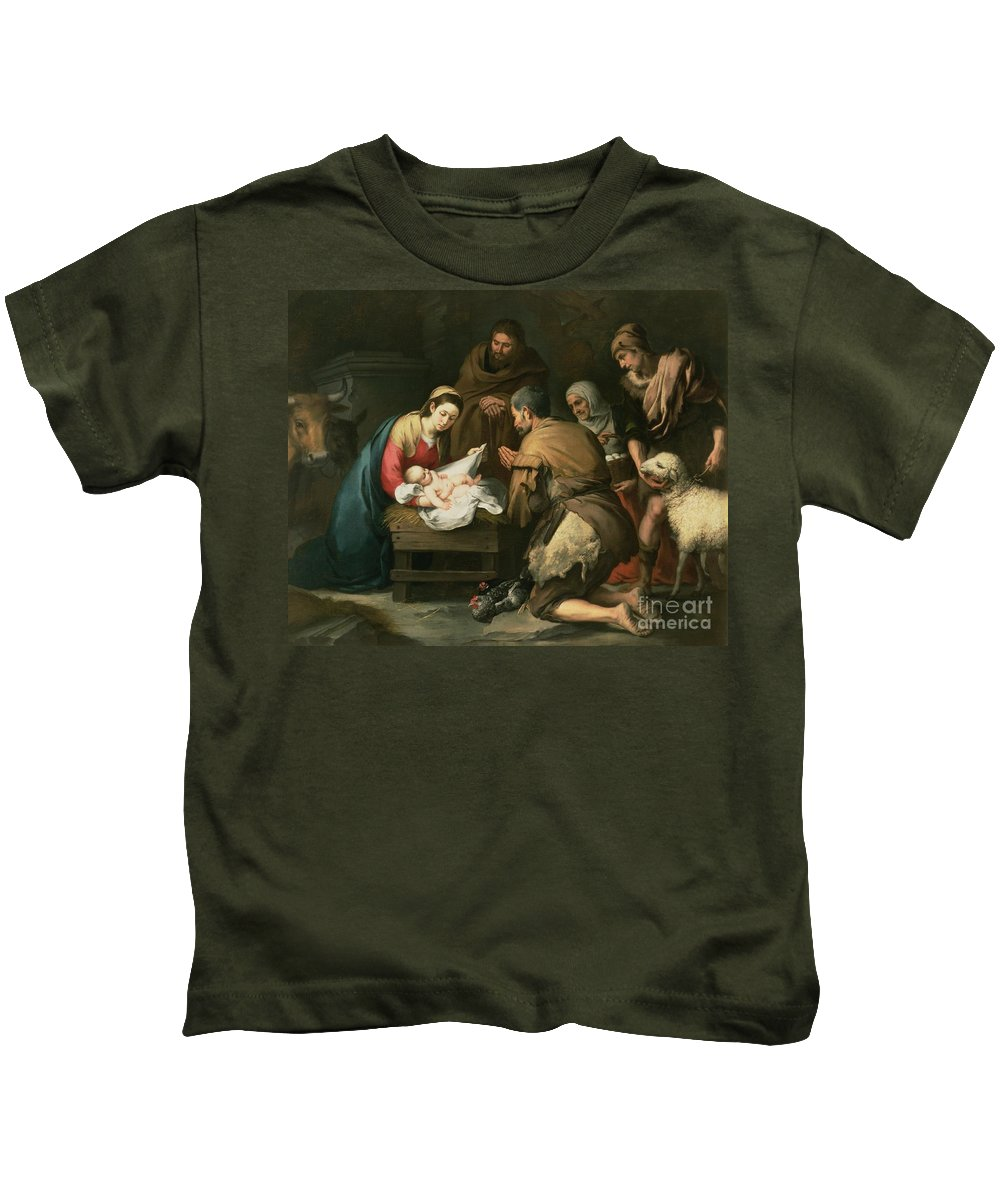 Adoration Kids T-Shirt featuring the painting The Adoration Of The Shepherds by Bartolome Esteban Murillo