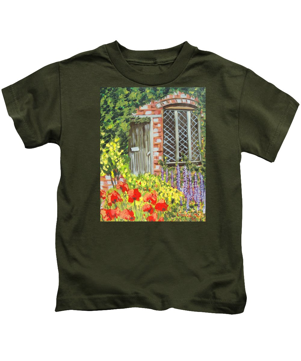 Windows Kids T-Shirt featuring the painting The Artist's Cottage by Laurie Morgan