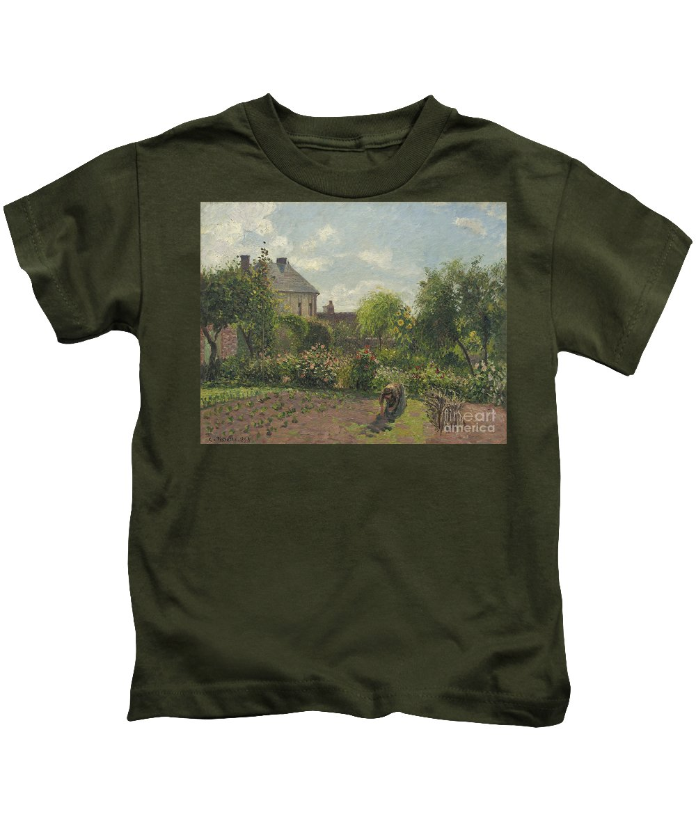 Garden Kids T-Shirt featuring the painting The Artist's Garden At Eragny by Camille Pissarro