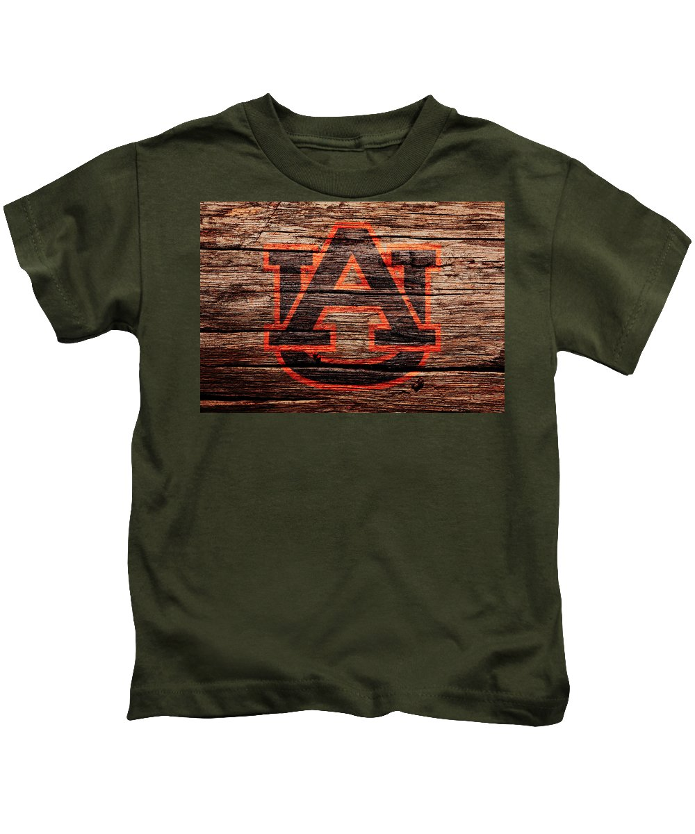 The Auburn Tigers Kids T-Shirt featuring the mixed media The Auburn Tigers by Brian Reaves