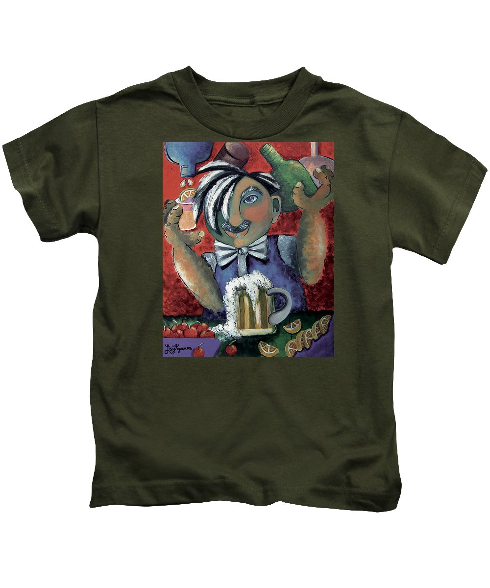 Bartender Kids T-Shirt featuring the painting The Bartender by Elizabeth Lisy Figueroa