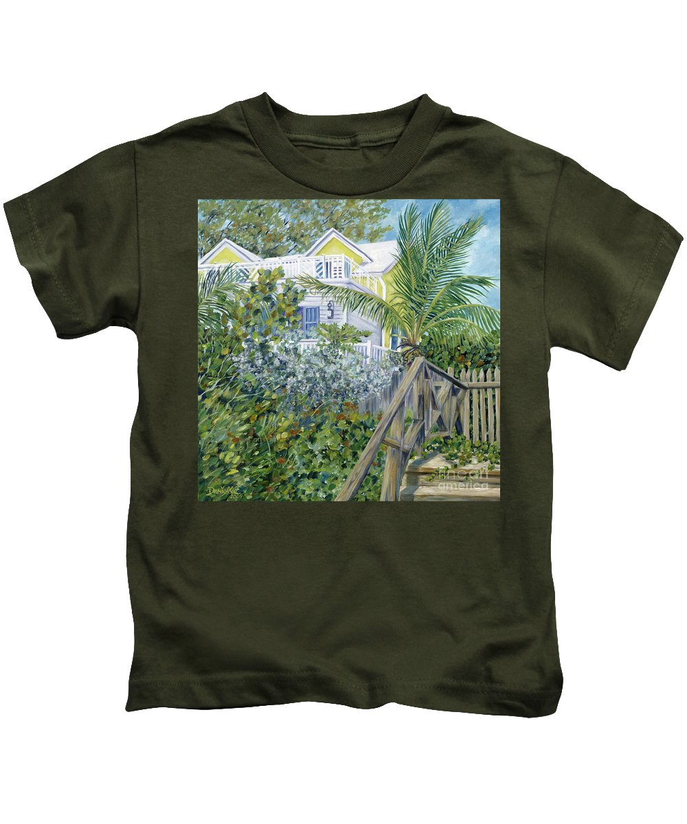 Beach House Kids T-Shirt featuring the painting The Beach House by Danielle Perry