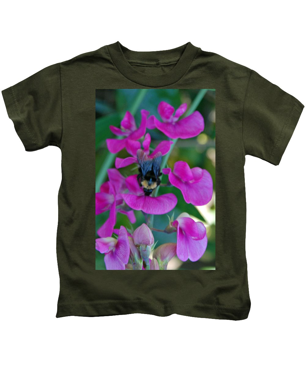 Bee Kids T-Shirt featuring the photograph The Bee And The Flowers by Carol Eliassen