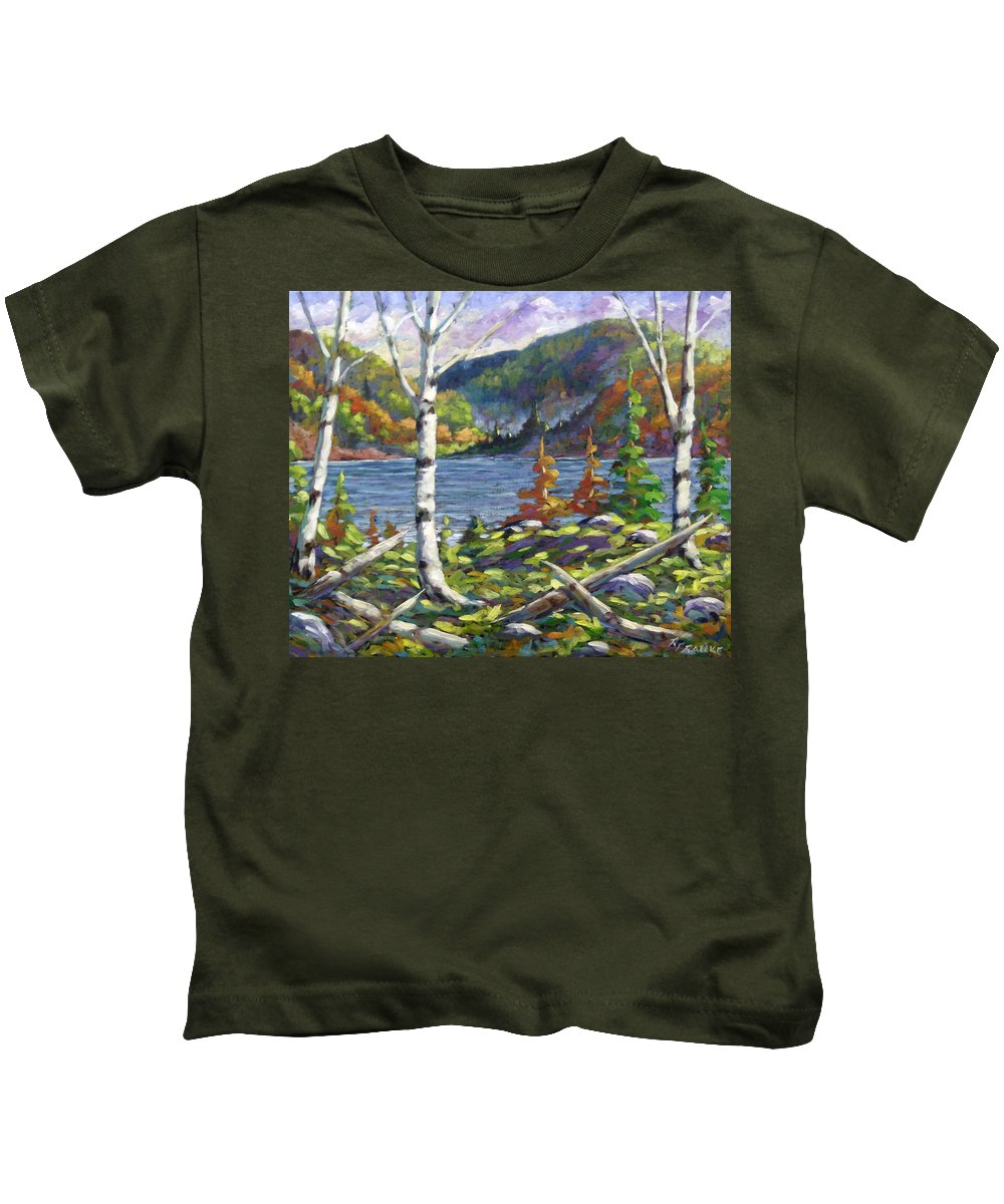 Art Kids T-Shirt featuring the painting The Birches by Richard T Pranke
