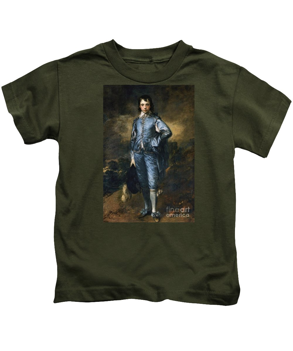 The Blue Boy Gainsborough Kids T-Shirt featuring the painting The Blue Boy by MotionAge Designs