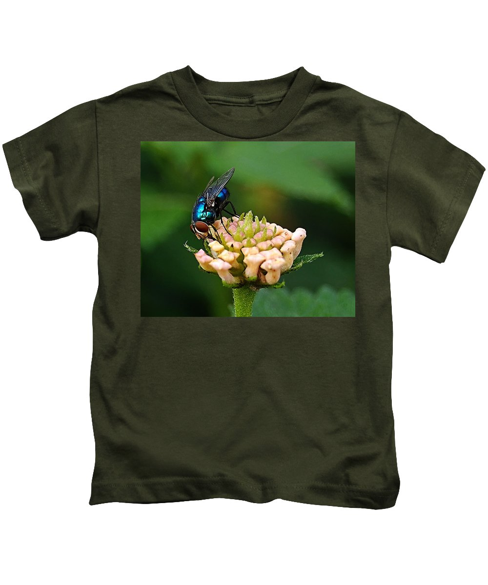 Kids T-Shirt featuring the photograph The Blue Bug by Galeria Trompiz