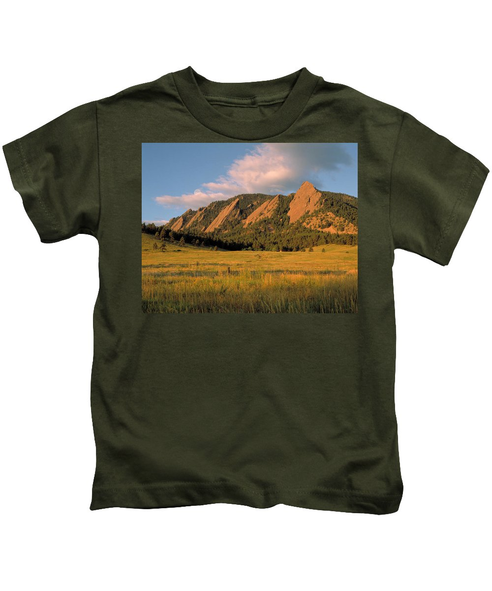 Boulder Kids T-Shirt featuring the photograph The Boulder Flatirons by Jerry McElroy