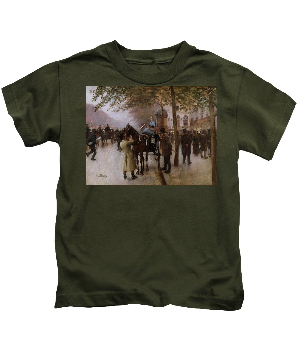 Traffic Kids T-Shirt featuring the painting The Boulevards by Jean Beraud