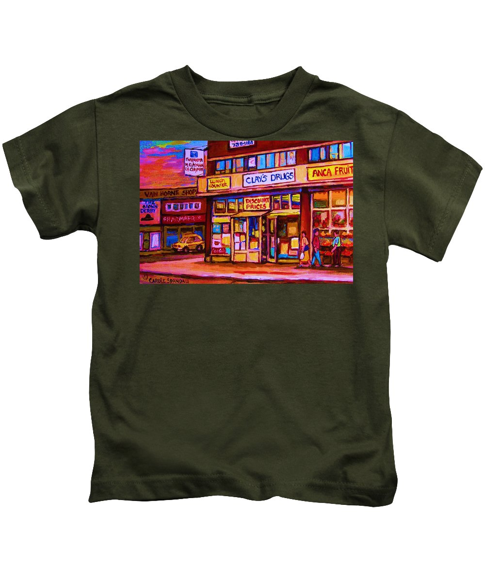 Montreal Kids T-Shirt featuring the painting The Brown Derby by Carole Spandau