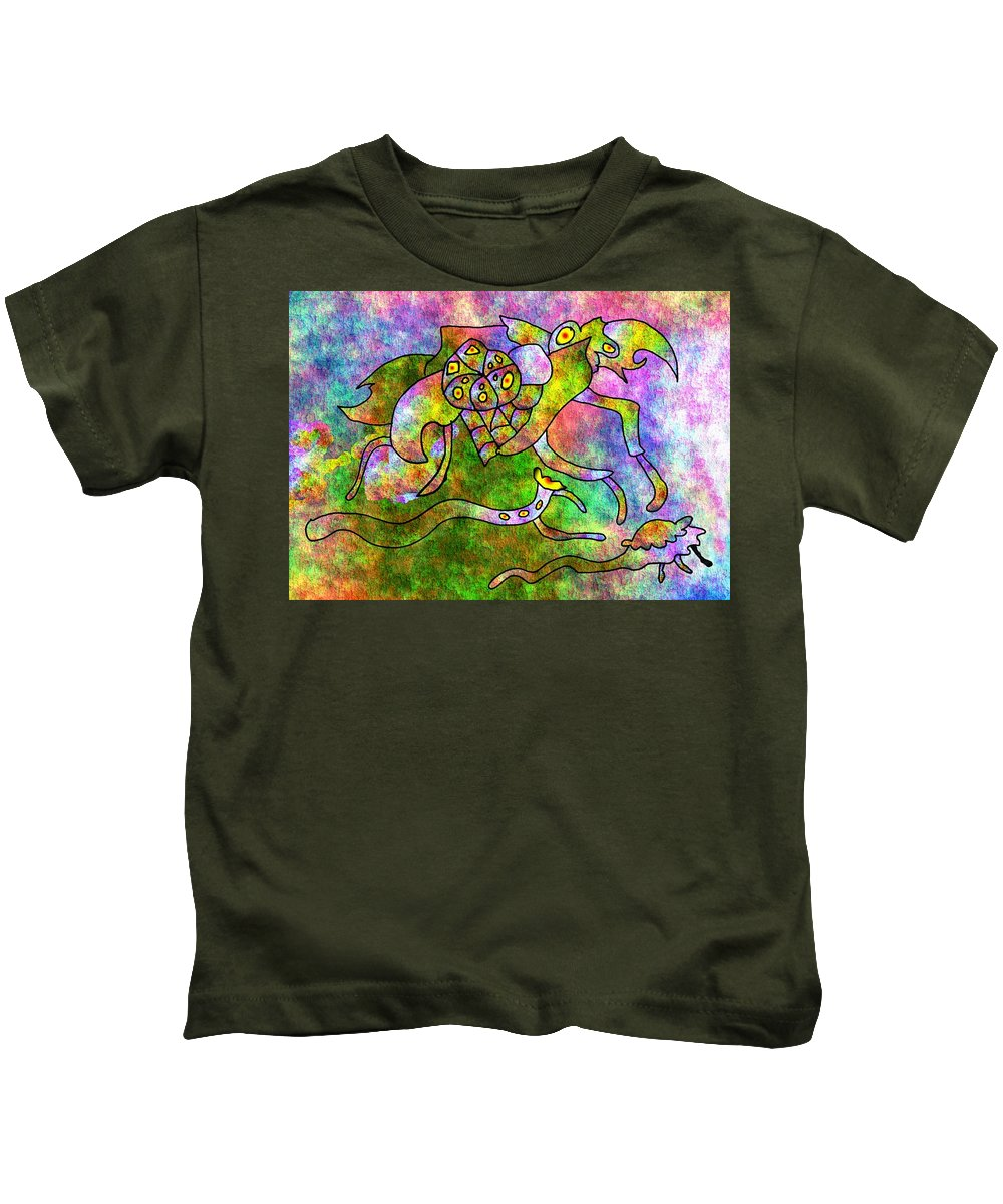 Bugs Color Texture Abstract Fun Kids T-Shirt featuring the digital art The Bugs by Veronica Jackson