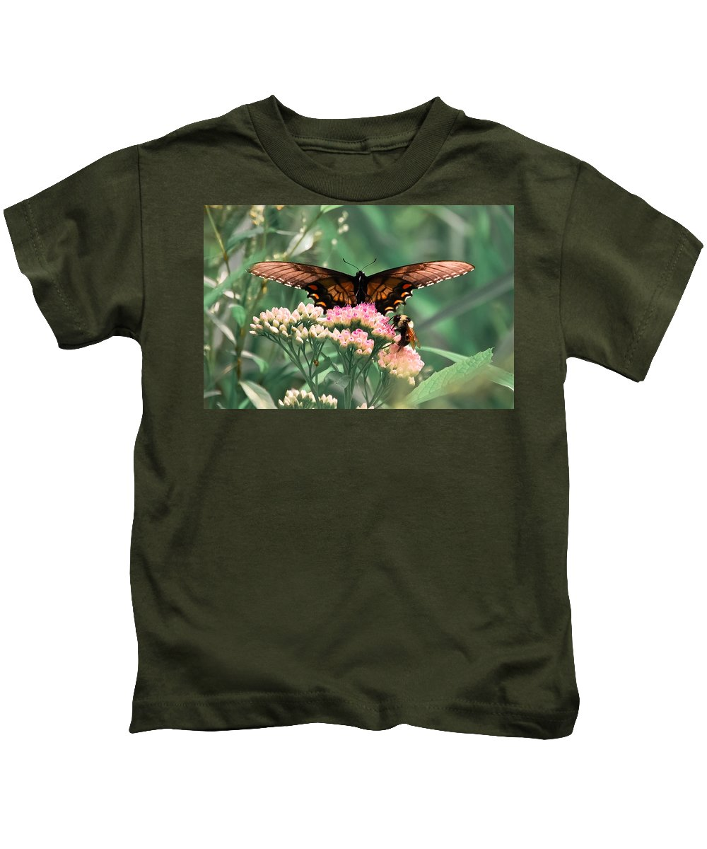 Butterfly Kids T-Shirt featuring the digital art The Butterfly And The Bumblebee by DigiArt Diaries by Vicky B Fuller
