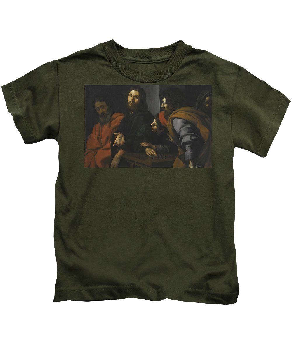 Giovanni Battista Caracciolo Kids T-Shirt featuring the painting The Calling Of Saint Matthew by Giovanni Battista