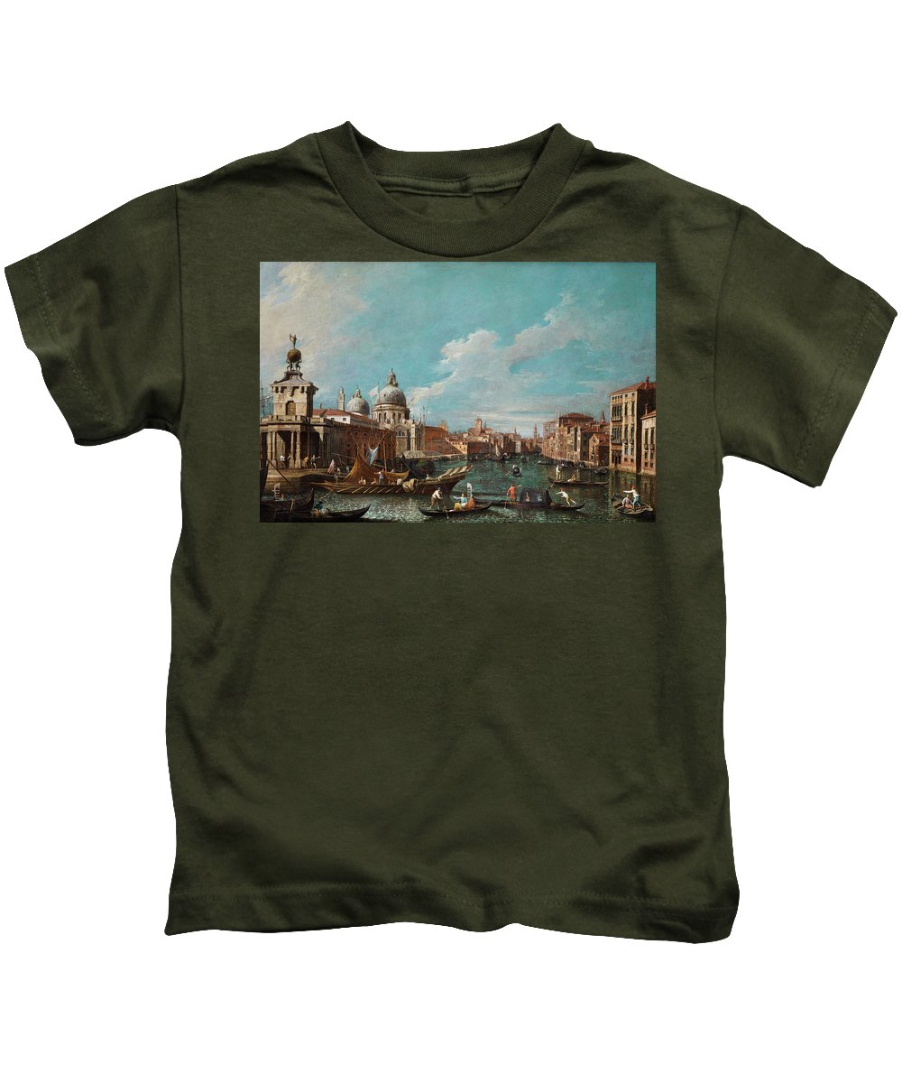 Canal Kids T-Shirt featuring the painting The Cannament Of The Great Canal by Giovanni Antonio Canal
