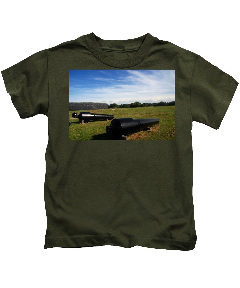 Photography Kids T-Shirt featuring the photograph The Cannons At Fort Moultrie In Charleston by Susanne Van Hulst