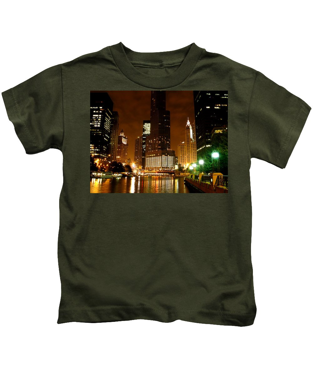 Water Kids T-Shirt featuring the photograph The Chicago River At Night by Dave Sribnik